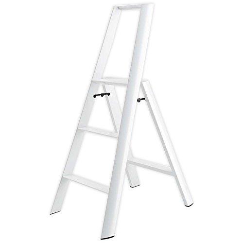 Lucano step stool Slim Design 3 step White Folding Lightweight Aluminum Ladder (White Ladder)