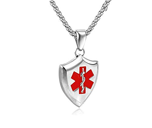Murinsar Free Custom Women Men's Stainless Steel Medical Necklace for Emergency Disease Alert Awareness Shiled Pendant Silver