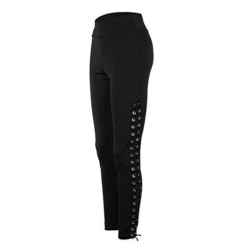 Training Leggero Elegante Leggins Con Estivi Donna Battercake Tuta Pantaloni Donne Lunghe High Casuale Lacci Waist Sportivi Skinny Rosa gfqZfS7