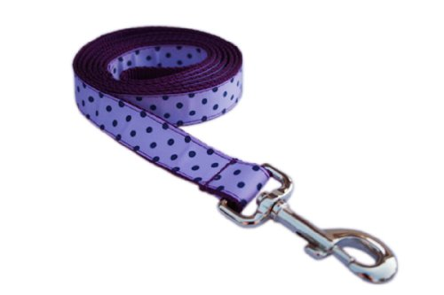 Small Orchid/Navy Polka Dot Dog Leash: 3/4″ wide, 4ft length – Made in USA., My Pet Supplies