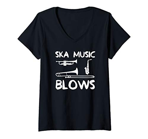 (Womens Funny Ska Music Blows Punk Band Dad Joke Gift V-Neck T-Shirt)