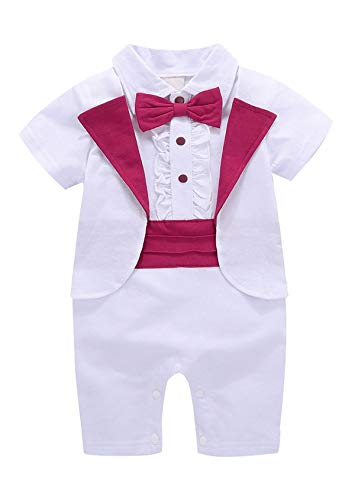 MetCuento Baby Boy Formal Tuxedo Tail Suit Gentleman Outfit Short Sleeve Dress Clothes Onesie Rompers Set(18-24 Months) White