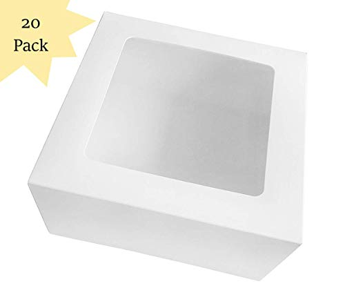 20 Count Sturdy White Cake Boxes 10x10x5 Inch with Window in Bulk