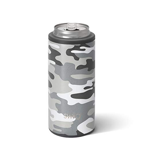 Swig Life 12oz Triple Insulated Skinny Can Cooler, Dishwasher Safe, Double Walled, Stainless Steel Slim Can Coozie for Tall Skinny Cans
