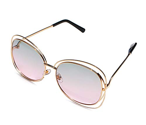 Oversized Sunglasses Gradient Lens for Women Full Metal Double Wire Frame 100% UV Protection (Light pink)