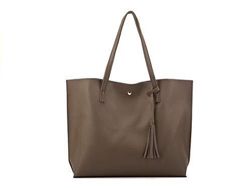Nodykka Women Tote Bags Top Handle Satchel Handbags PU Pebbled Leather Tassel Shoulder - Medium Top Bag