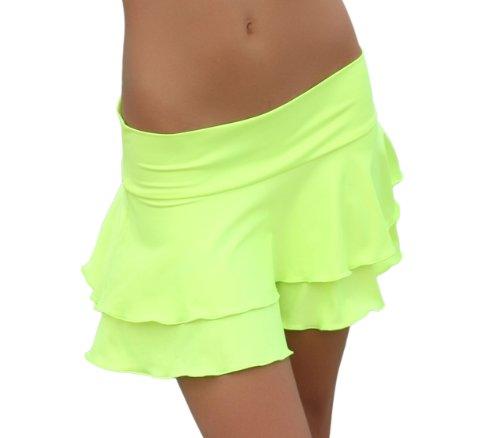 Danse sALSA ensemble 2 marches mini jupe de plage jaune fluo