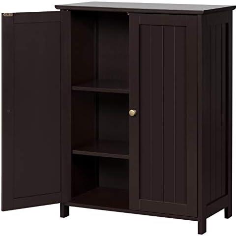 Topeakmart 31.7in H Bathroom Floor Cabinet Free-Standing 2-Door Storage Cabinet with 2 Adjustable Shelves, Anti-toppling Design, Espresso