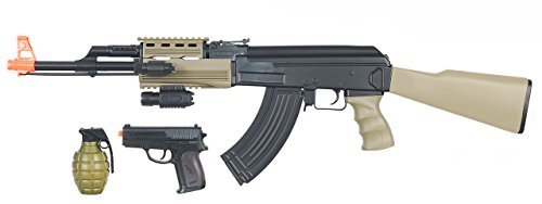 CYMA Tactical AK Semi/Full Auto AEG Electric Airsoft Rifle & Spring Pistol Combo Gun Set FPS 180 (Tan)