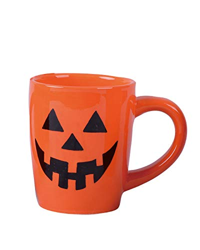 (Transpac Imports D1285 Dolomite Jack-O-Lanterns Mug Decor, Orange)