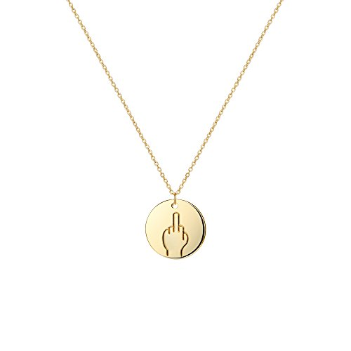 Befettly Hand Gestures Choker Necklace 14 K Gold Plated Personalized Disk Pendant For Women NK-ges-nope