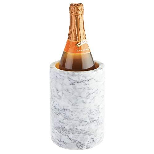 mDesign Natural Marble Stone Wine Bottle Cooler Chiller - Elegant Utensil Tool Holder Crock, Decorative Vase - - Cooler Marble Wine
