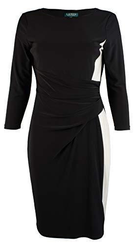 Colorblock Jersey Dress - LAUREN RALPH LAUREN Women's Color-Block Jersey Dress-BW-10 Black White