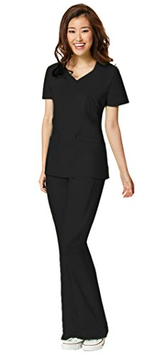 WonderWink Women's WonderFlex Lady Fit Charity Fashion Y-Neck Top 6308 and WonderFlex Grace Flare Leg Pant 5308 Scrub Set (Black - Large/XL - Flare Fit Scrub
