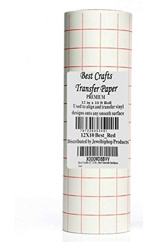 JH-Best Crafts 12 X 25 Feet Roll Transfer Paper w/Grid- Perfect Alignment Cameo Cricut Self Adhesive Vinyl Decals, Walls, Signs, Ceramics, Glass, Windows Other Smooth Surfaces