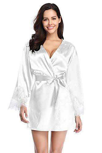 - Santou Satin Kimono Robe for Women Long Sleeve Lace Trim Bathrobes Sleepwear Nightwear White Large