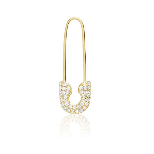 14KT Gold and Diamond Safety Pin Fashion Earring