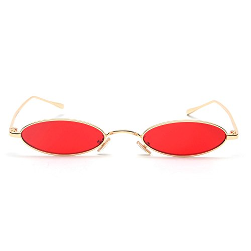 MINCL/Fashion Small Oval Metal Frame Chic Clear Candy Color Lens Sunglasses - Oval Men Face