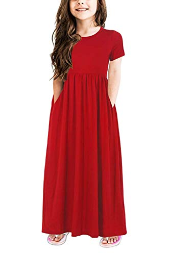 JNKLWPJS Girls Summer Short Sleeve Pleated Casual Long Maxi Dress with Pockets B-Red 8 Years