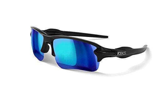 REKS Unbreakable SLING-BLADE Sunglasses (Satin Touch Black, Blue - Sunglasses Mirror Blue