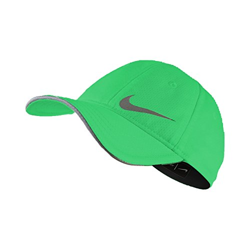 Nike Girl`s Featherlight Dri-Fit Cap with Built-in Ponytail Holder (2-4T, Electro Green(2A2677-EG1)/Reflective -