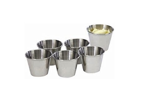 2½ Oz Condiment Sauce Cups- Set of 6. (Metal Sauce Cups)