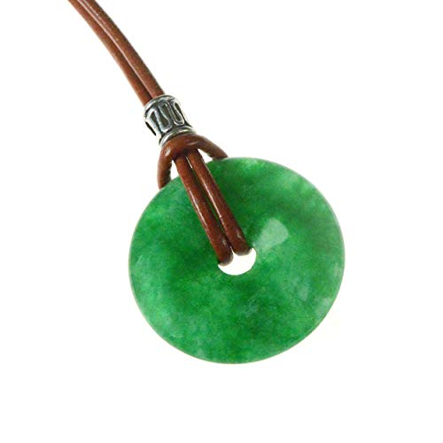 Green Jade Artisan Necklace with 25-30mm Jade Pendant that includes 18 inch 2mm Leather Cord - Jade brings Good Luck and Longevity GJN01 ()