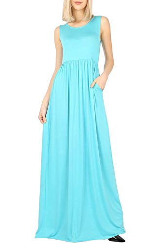 Bon Rosy Women's Soft Touch High Waist Solid Tank Top Jersey Maxi Dress w/Side Pocket Mint XL