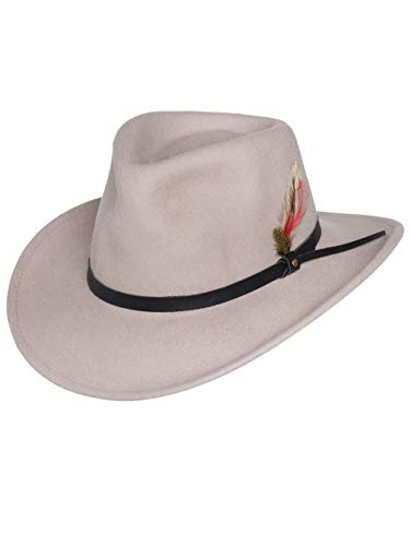 Men's Outback Wool Cowboy Hat Montana Putty Silver Belly Crushable Western Felt by Silver Canyon, Silver, Medium]()