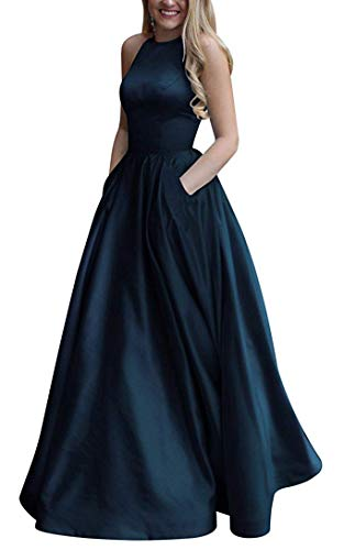 Gricharim Women's Long Halter Satin Prom Dresses Long A Line Open Back Evening Gowns with Pockets Navy Blue US2