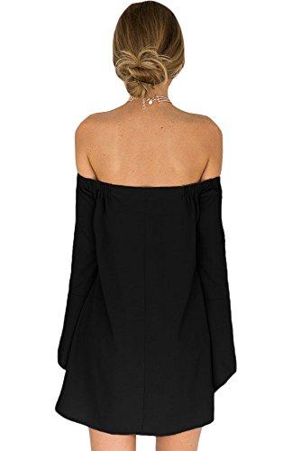 Damen Schwarz Schulterfrei Bell Sleeve Swing Kleid Abendkleid Club Wear Party Wear Größe M UK 10–12EU 38–40