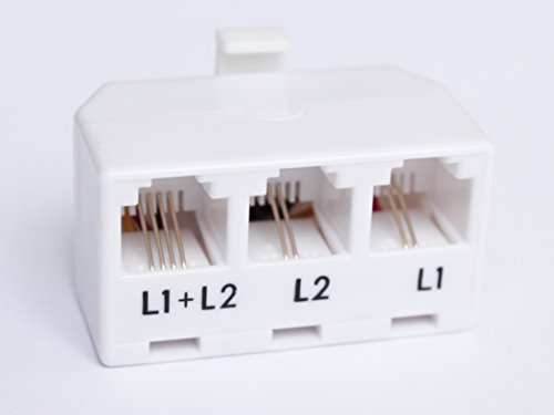 2-Line Telephone Separator Splitter Adaptor 1 Male to 3 Female RJ-11 White. The Separator2. Use with Any Standard RJ-11 Phone Cord.