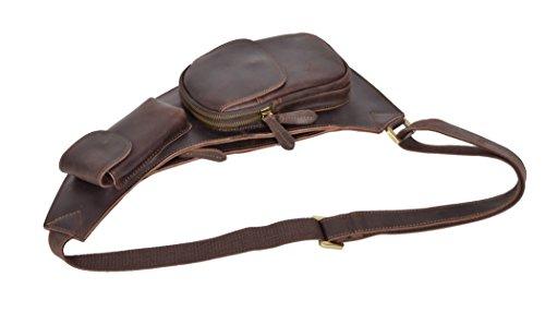 Echtes Leder Kreuzkörper Schlanke Halfter Sling Brust Tasche Reisebeutel H8039 Braun 4BPH2I8I9