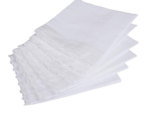 Cotton White Women Handkerchief With Lace 6Pack, Wedding Party Cotton Hanky, Bridal Wedding Lace Handkerchief, Premium Vintage Handkerchief, Cocktail Napkins, Wedding Napkins -12x12 Inch -White