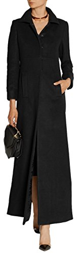 GESELLIE WoMen's Vintage Black Single Breasted Outwear Lapel Thick Full-Length Wool Pea Coat,Black,Medium