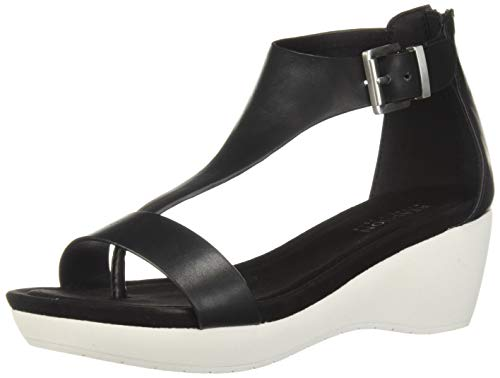 Kenneth Cole REACTION Women's New Gal Platform T-Strap Sandal Sport, Black, 7.5 M -