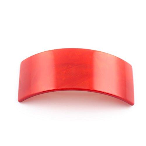 MC Davidian - Barrette matic QDC Classique TGM Simple rectangle - rouge siam fonce nacre, Décor (Classique Rouge)