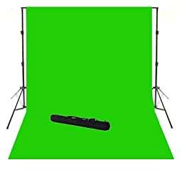ePhoto 10\' X 12\' Video Photography Studio Chroma Key Chromakey Green Screen Cotton Muslin Backdrop Seamless and Background Supporting System Kit with Carrying Case