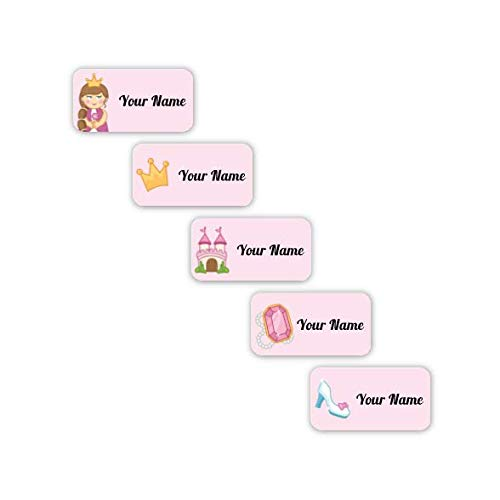 Personalized Waterproof No-Sew Laundry Safe Stick-on Labels for Clothing (Princess Theme)