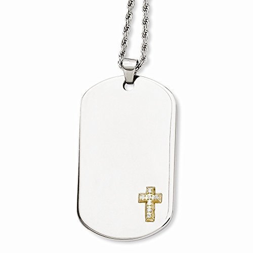 Chisel Stainless Steel 14k w/Diamonds Cross Dog Tag Necklace by Chisel