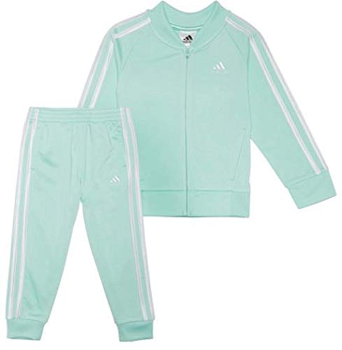 adidas Baby Girls' Tricot Zip Jacket and Pant Set (Clementine Mint 333, 5) Back Zip Baby Jacket