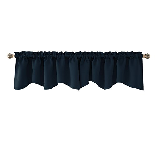 Deconovo Navy Blue Valances for Window Kitchen Valance Scalloped Valance Blackout Valance Curtain 52×18 Inch 2 PCS Review