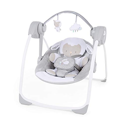 Ingenuity Comfort 2 Go Portable Swing Cuddle Lamb Compact Swing with TrueSpeed