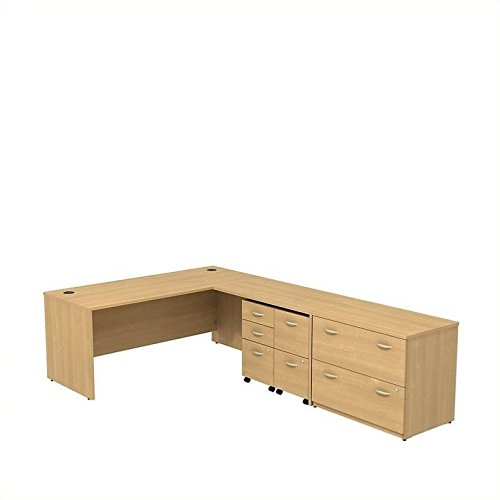 BBF Series C L Desk with 3 Drawer Mobile Pedestal 2 Drawer Mobile Pedestal and 2 Drawer Lateral File in Light Oak