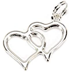 Double Linked Heart Charms Favor Invitation Decoration Silver 100 Pieces