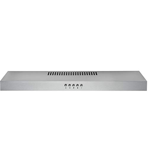 DKB Under Cabinet Range Hood DKB-168-UC200-30 30″ Inch Stainless Steel Kitchen Exhaust Vent With 200 CFM, 3 Speed Fan and Push Button Control Panel