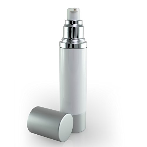 Luxe Empty Airless Pump Bottle with Lid for Homemade Beauty Products, Lotion and Serum (50 ML, White Bottle with Matte Silver)