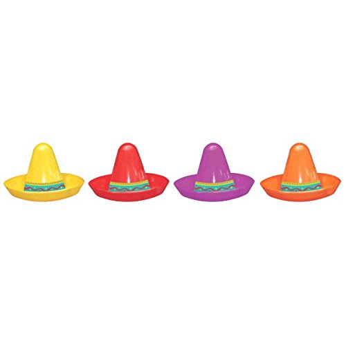 [Cinco De Mayo Fiesta Party Assorted Colors Mini Sombreros Accessories, Plastic, 2