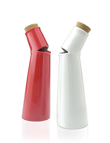 Mint Salad Song Red and White Porcelain Vinegar and Oil Cruets