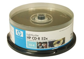 HP 10038 cd-r lightscribe media 52x 25-PK cake box...